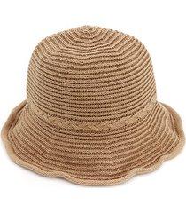 donna cappello da pescatore cloche in cotone a righe con tesa curva in colore a tinta unita