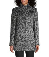 cinzia rocca icons women's leopard-print short coat - black grey - size 8