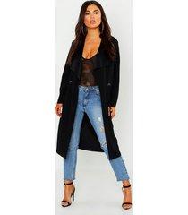 petite duster jas met onbewerkte zoom en metalen ringetjes, zwart