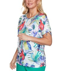 alfred dunner costa rica parrot-print knit top