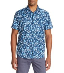 tallia men's slim fit floral print short sleeve shirt and a free face mask