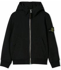 stone island black logo hooded jacket