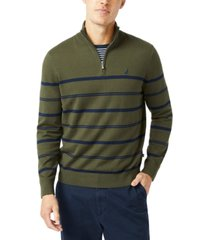 nautica men's navtech striped quarter-zip sweater
