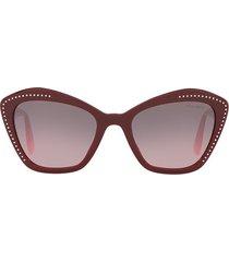 miu miu eyewear rhinestone logo sunglasses - red