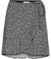 ruffle wrap mini skirt kort kjol svart abercrombie & fitch