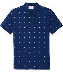polo slim de piqué de algodón con el logo en toda la prenda azul calvin klein