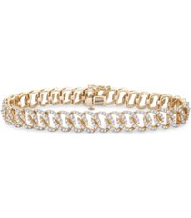 diamond oval link bracelet (3 ct. t.w.) in 14k gold