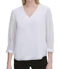 blouse v-neck smock sleeve