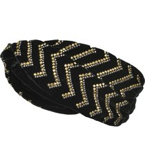 pinko crystal embellished turban - black