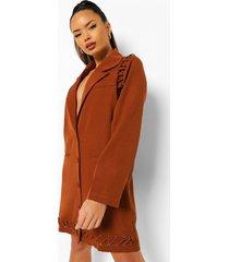 blazer jurk met metalen ringetjes, chocolate