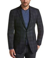 calvin klein charcoal & blue plaid slim fit sport coat