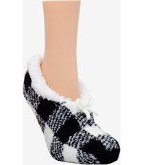 cuddlduds sherpa lined fuzzy buffalo check slipper socks