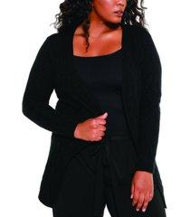 belldini black label women's plus size crosshatch stitch open cardigan