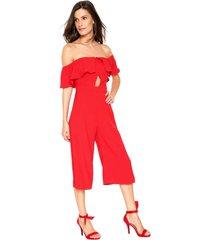 macacã£o colcci pantacourt babados vermelho - vermelho - feminino - poliã©ster - dafiti