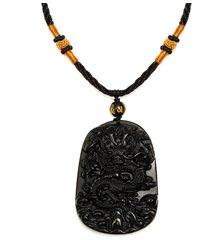 collana del pendente del drago intagliato obsidian nero