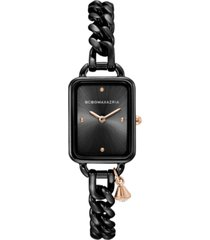 bcbgmaxazria ladies rectangle black stainless steel chain bracelet with rose goldtone crystal charm watch, 15mm x 21mm