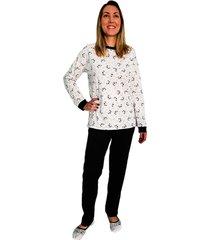 pijama phiphi longo panda preto - kanui