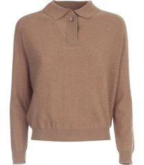 aspesi merino wool polo sweater l/s