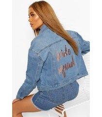 bride's squad slogan jean jacket, mid blue