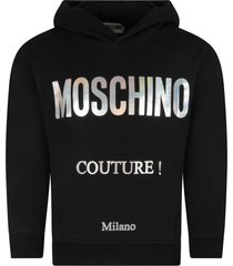 moschino black sweatshirt for girl with logo