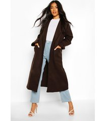 oversized button through wool look coat, chocolate
