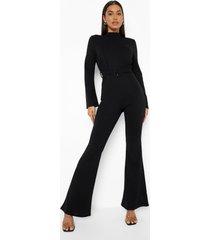 getailleerde jumpsuit met wijde mouwen en ceintuur, black