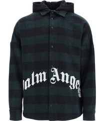 palm angels tartan hooded shirt