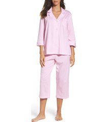 women's lauren ralph lauren knit crop cotton pajamas, size x-small - pink