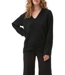 women's michael stars arlo hoodie, size medium - black