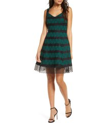 women's donna ricco bonded lace fit & flare dress, size 16 - green
