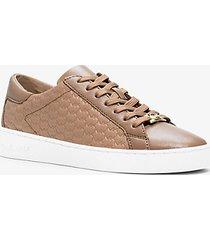 mk sneaker colby in pelle con logo goffrato - cachi scuro (naturale) - michael kors