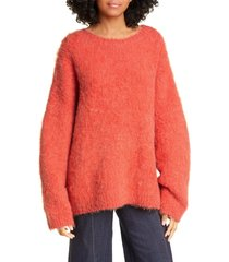 women's cinq a sept daniella wool & alpaca blend sweater, size large - orange