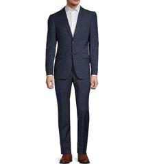 john varvatos star u.s.a. men's regular-fit windowpane wool suit - blue - size 38 s