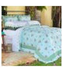 kit porta travesseiro decorativo di cotone verde ione enxovais 2 peças