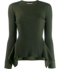alberta ferretti ribbed knit peplum sweater - green