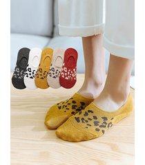 5 pairs leopard print no-show socks