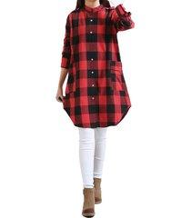 zanzea 2.018 mujeres bf forma de vestir de algodón a cuadros de manga larga ocasional buscado coincidencias dobladillo irregular de gran tamaño vestidos blusas vestido rojo -rojo