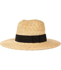 brixton joanna straw hat, size x-large in honey/black at nordstrom
