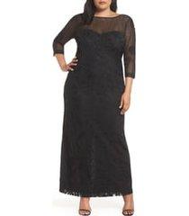 plus size women's js collections soutache trim mesh column gown