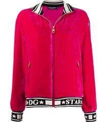 dolce & gabbana logo velour track jacket - pink