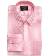 men's big & tall nordstrom classic fit non-iron gingham dress shirt, size 17 - 38/39 - pink