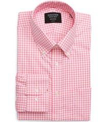 men's nordstrom men's shop classic fit non-iron gingham dress shirt, size 16.5 - 34/35 - pink