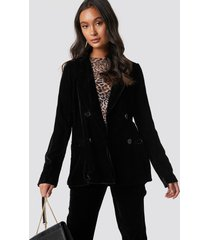 na-kd party double breasted velvet blazer - black