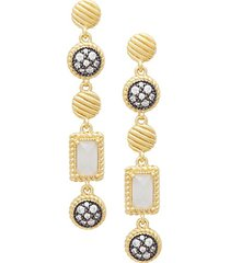 gilded cable sterling silver, crystal & chalcedony station drop earrings