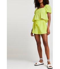 river island womens yellow tie waist shirred shorts