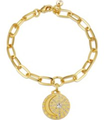 "gold flash-plated link bracelet with crystal ""i love you to the moon & back"" charm"