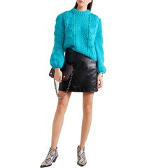 women's cyan blue the julliard mohair and wool blend pullover sweater