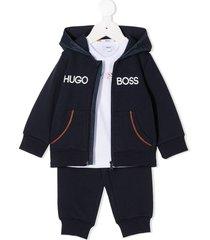 boss kidswear branded tracksuit set - blue