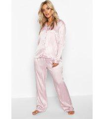 plus-size satijnen pyjamabroekset, blush