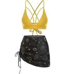 lace-up sun star moon cinched three piece swimsuit